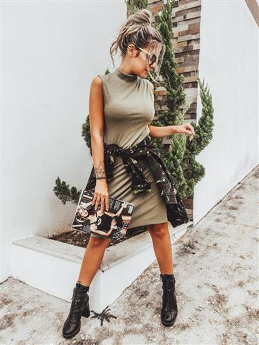 Vestido malha canelada Carla - Fiola