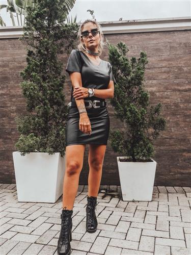 Vestido couro Marcela - Fiola
