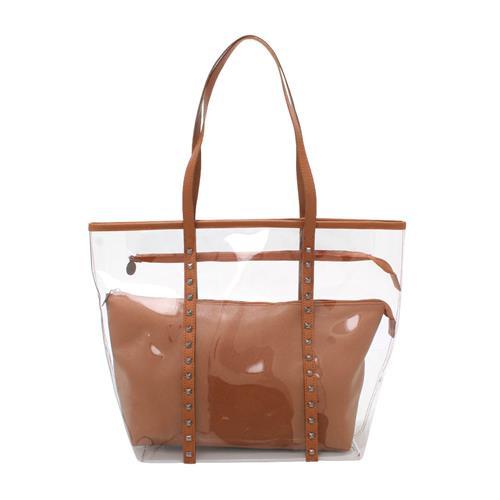 Shopper Bag transparente com tachas